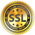 A logo with a text saying '100% Secure Transactions' and 'SSL' in the middle