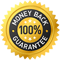 Text saying 'Money Back Guarantee' and a '100%' text in the middle