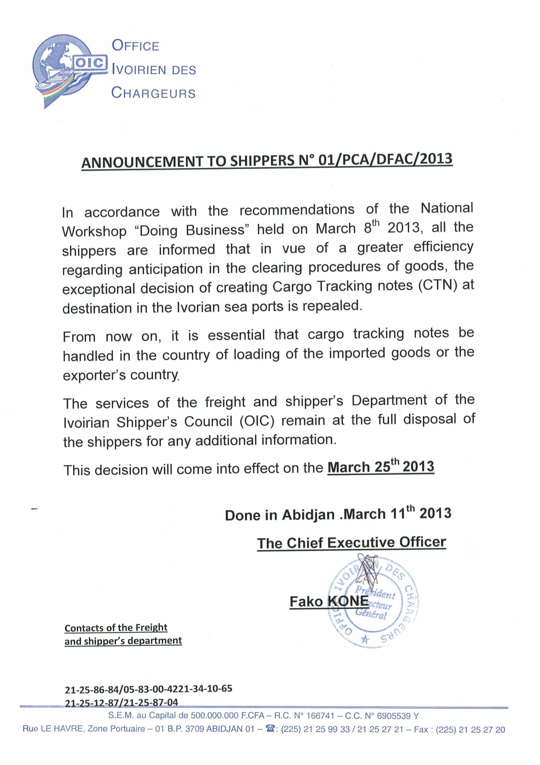 A notice about the BSC document from the Ivory Coast