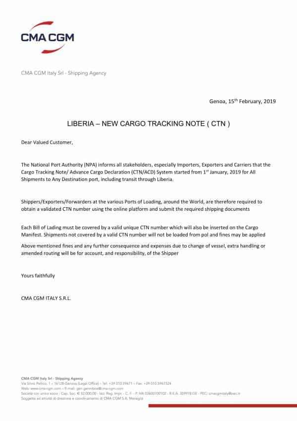 An offical notice about Liberia CTN from CMA CGM