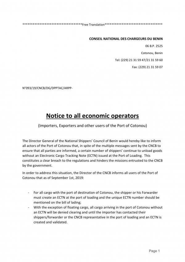 A notice about the ECTN document from the National Shippers Council of Benin