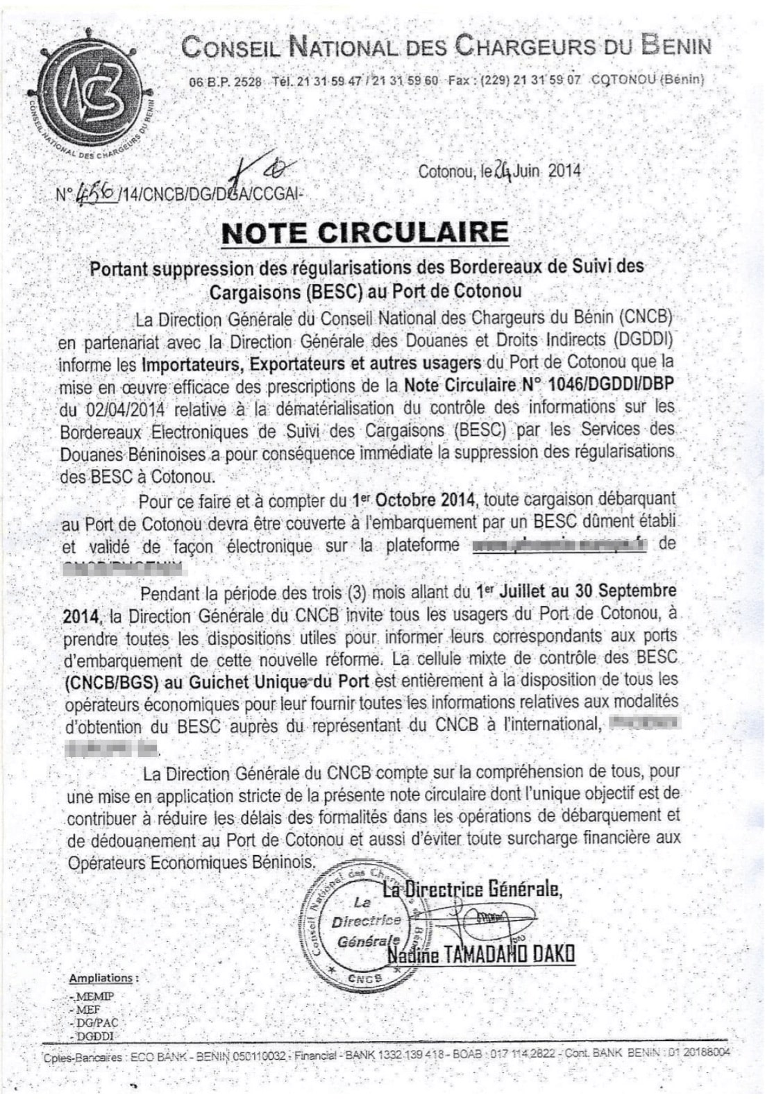 An announcement from Benin officials about the BESC regulations