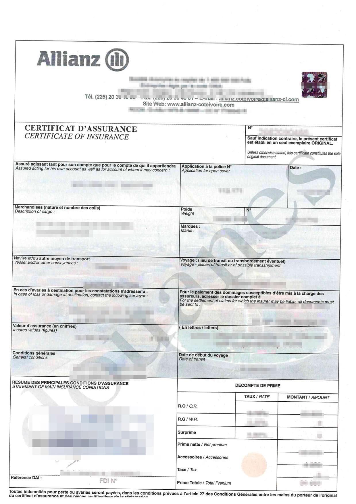 An example of the Certificate of Insurance
