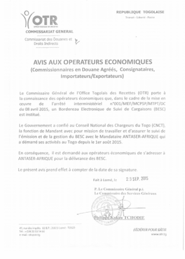 An announcement from Togo officials about the ECTN regulations